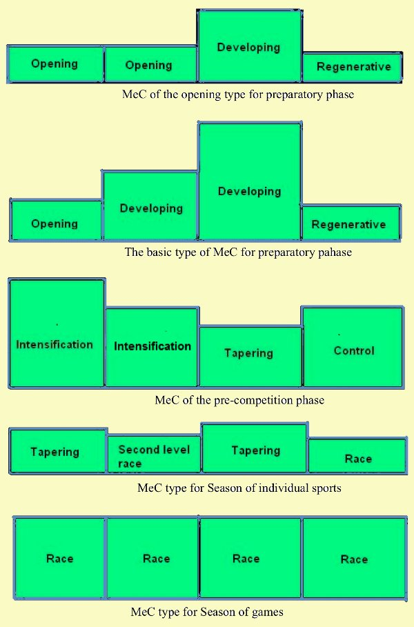 typical training schemes of different MeC types columns show load volume
